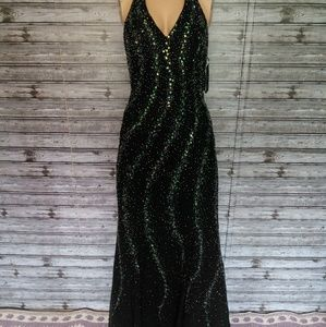 Black and green beaded gown BNWT